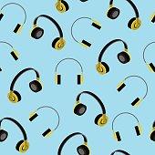 Headphones seamless pattern. Vector Illustration