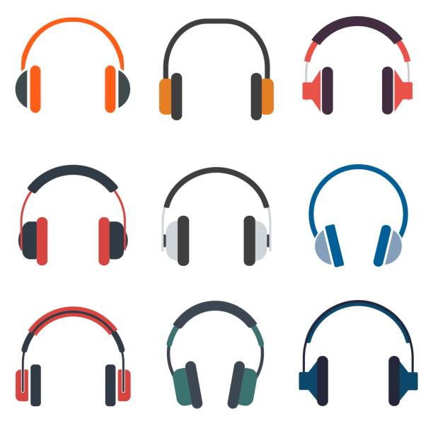 Headphones set of icon vector illustration Headphones set of icon vector illustration headphones stock illustrations