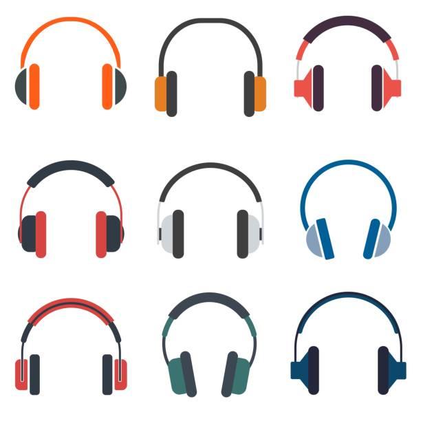 bildbanksillustrationer, clip art samt tecknat material och ikoner med hörlurar uppsättning ikonen vektorillustration - headset