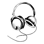 Headphones sketch. Hand-drawn black headphones sketch, isolated on white background. Sketch style vector illustration.