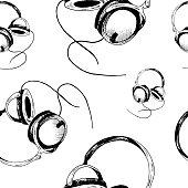 Headphones sketch pattern. Hand-drawn black headphones  on white background. Seamless vector backdrop