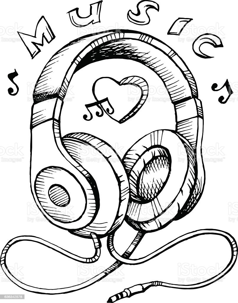 notes sketch headphones musical vector illustration entertainment note drawing culture arts sketches