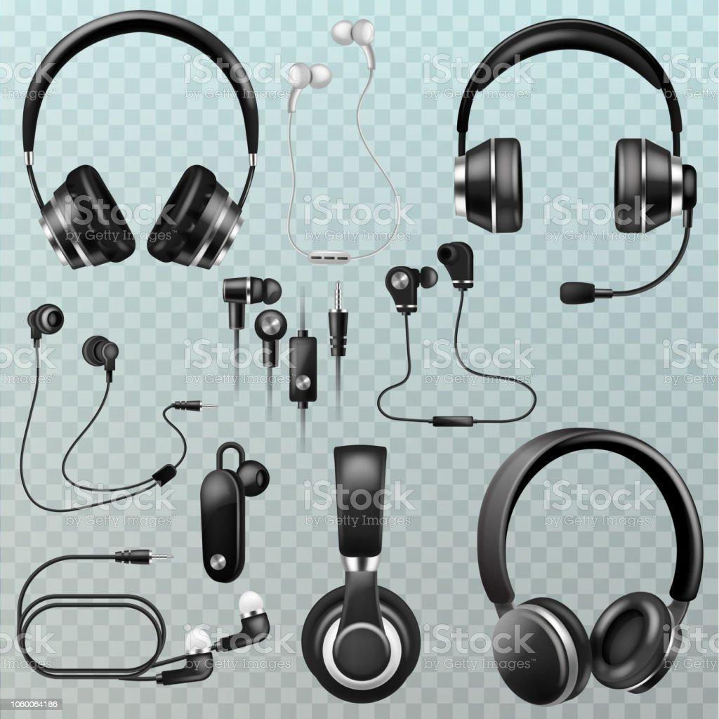 Hörlurar vector headset och hörlurar stereo teknik och au - Royaltyfri Audioutrustning vektorgrafik
