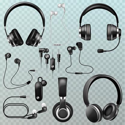 Hörlurar Vector Headset Och Hörlurar Stereo Teknik Och Au-vektorgrafik och fler bilder på Audioutrustning