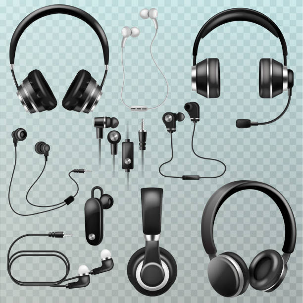 Headphones vector headset and earphones stereo technology and au vector art illustration