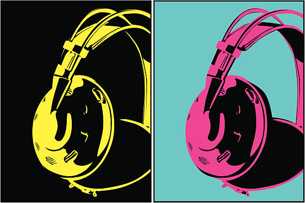 Headphones (Vecor) Some headphones done in a stylish pop art. individual event stock illustrations