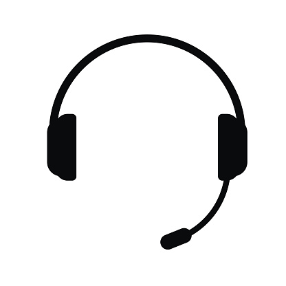 Headphones with a microphone. Icon on white background. Vector illustration.