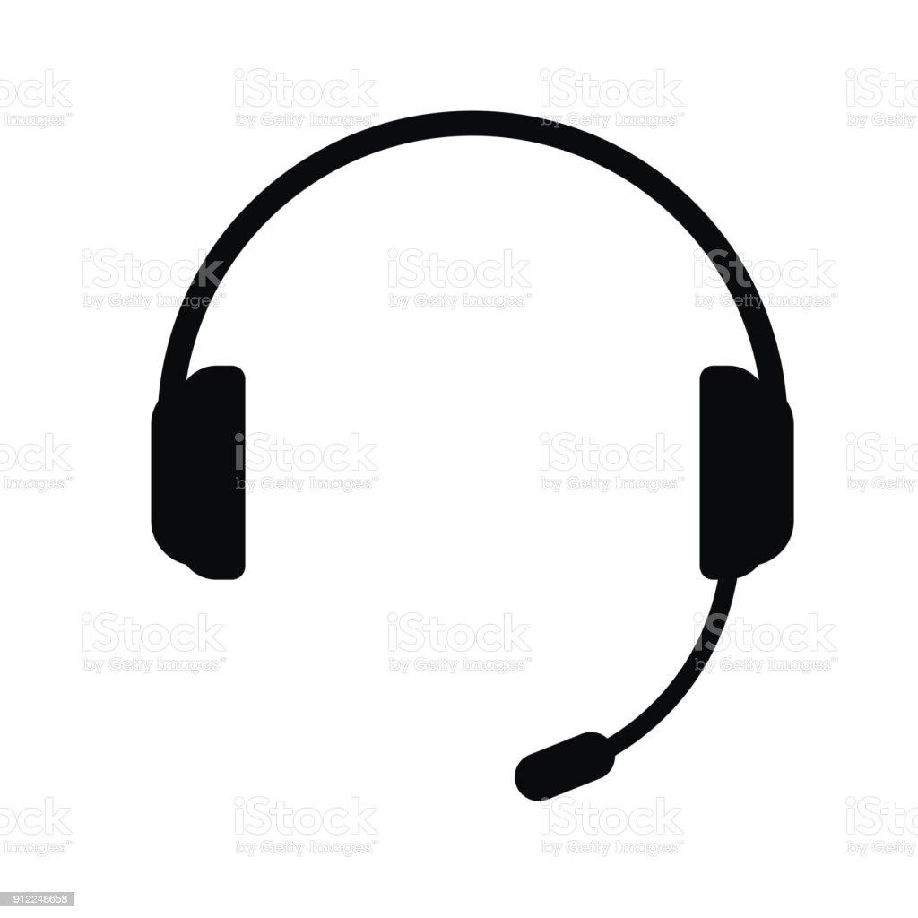 Auriculares con micrófono, icono de vectores. - ilustración de arte vectorial