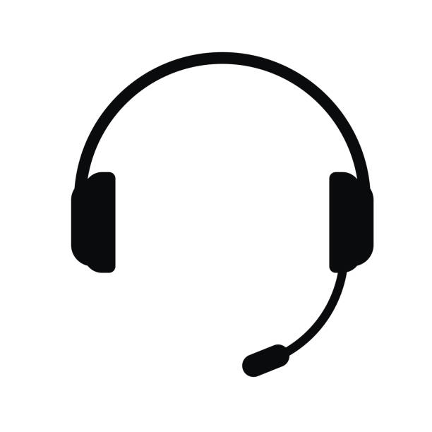 headphones with a microphone, vector icon. - call center stock illustrations, clip art, cartoons, & icons