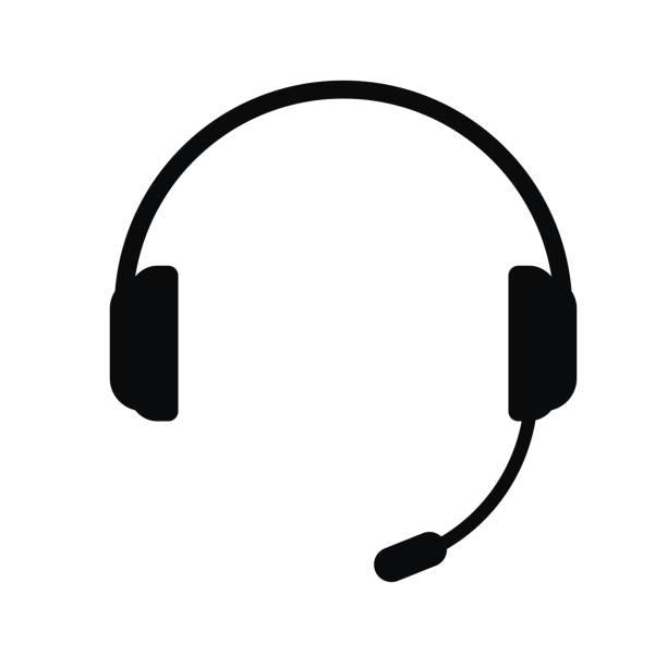 bildbanksillustrationer, clip art samt tecknat material och ikoner med hörlurar med en mikrofon, vektor-ikonen. - headset