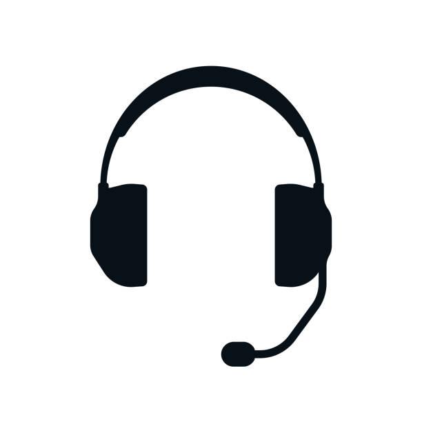bildbanksillustrationer, clip art samt tecknat material och ikoner med hörlurar med mikrofon siluett - headset