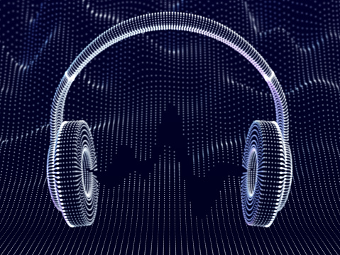 3D headphones with sound waves on dark background. Concept of electronic music listening and digital audio.