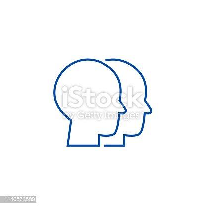 Heads illustration line concept icon. Heads illustration flat  vector website sign, outline symbol, illustration.