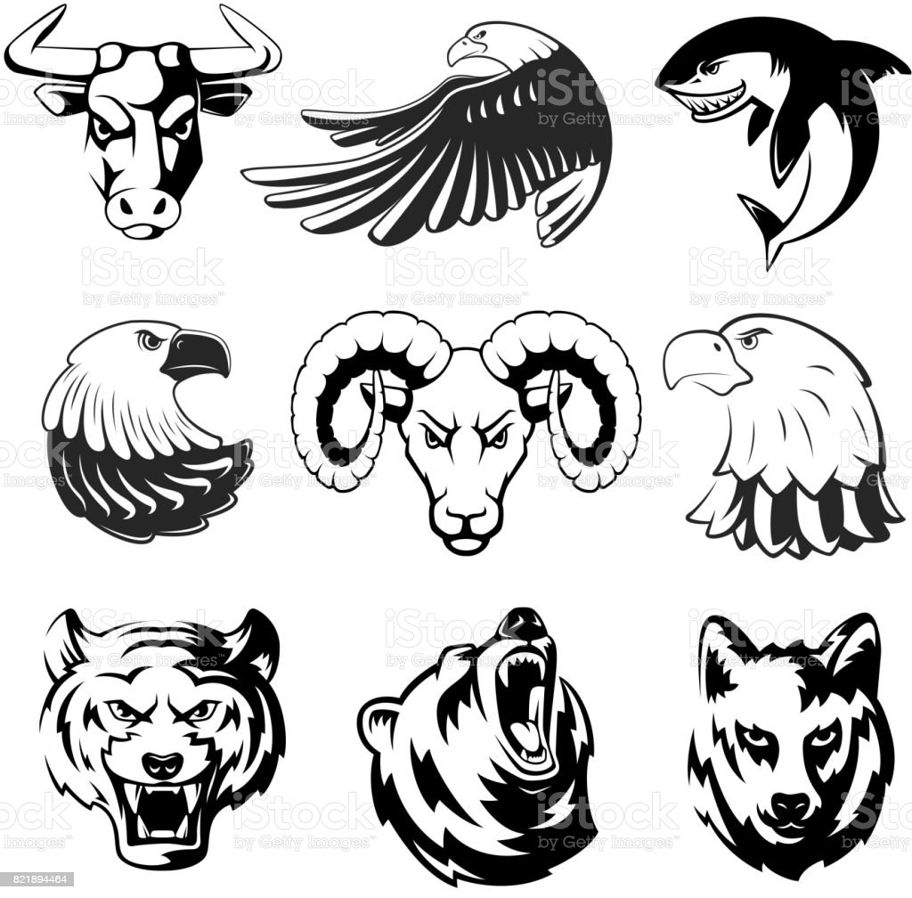 Heads of animals for logo or sport symbols. Grizzly, bear and eagle. Monochrome mascots illustrations for labels. Wolf, shark and ram. Big vector set vector art illustration