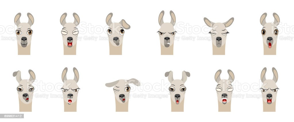 Heads of Lama with Different Emotions - Smiling, Sad, Anger, Aggression, Drowsiness, Fatigue, Malice, Surprise, Fear vector art illustration