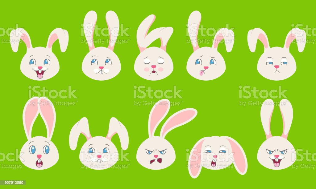 Heads of Rabbit with Different Emotions - Cheerful, Sad, Thoughtfulness, Funny, Drowsiness, Fatigue, Malice vector art illustration