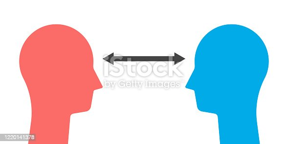 Two heads silhouettes with arrow or dimension line. Social distancing, coronavirus pandemic, visual contact, look, communication concept. EPS 8 vector illustration, no transparency, no gradients