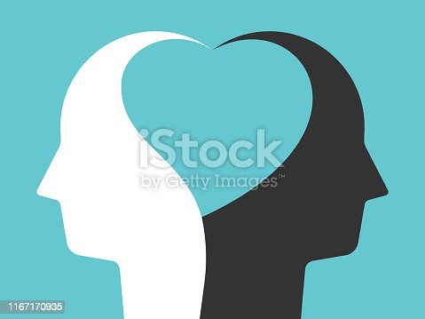 Two white and black head silhouettes united by heart shape inside them on turquoise blue. Unity, tolerance, peace, love concept. Flat design. Eps 8 vector illustration, no transparency, no gradients