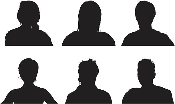 Heads Three men and three women from the shoulders up. generic description stock illustrations