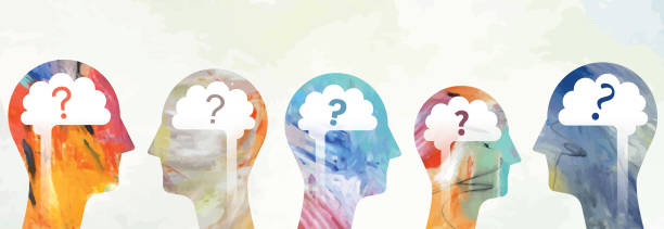 Heads With Brain And Question Marks Illustration montage made from two different vectorised acrylic paintings and vector elements showing questioning heads. debate stock illustrations