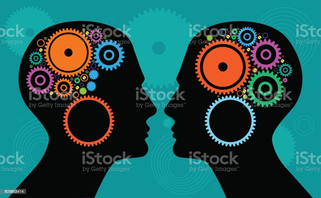 Heads with gears vector art illustration