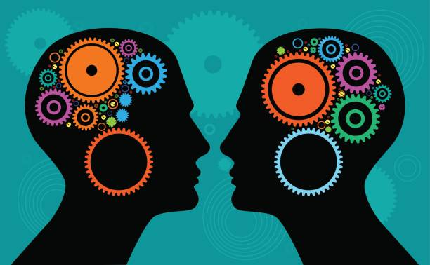 heads with gears - two people talking stock illustrations, clip art, cartoons, & icons