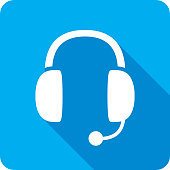 Vector illustration of a blue headset icon in flat style.