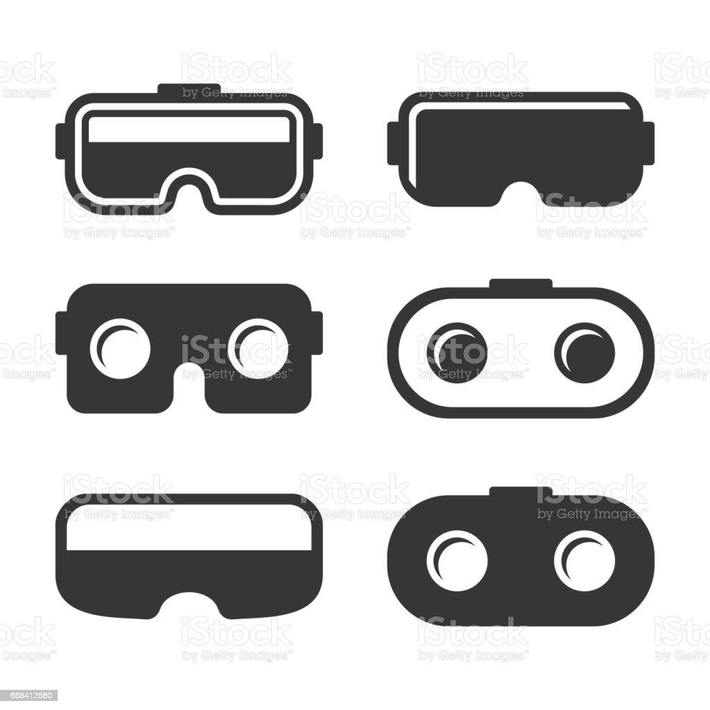 VR Headset Icons Set on White Background. Vector vector art illustration