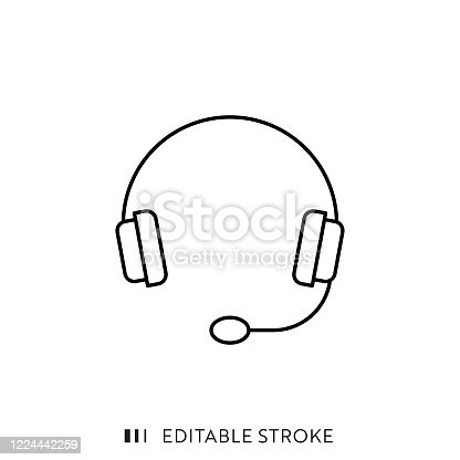 istock Headset Line Icon with Editable Stroke and Pixel Perfect. 1224442259