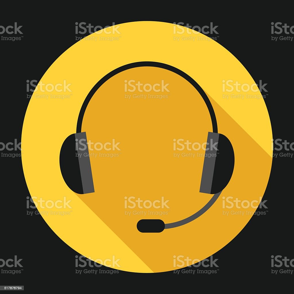 Headset on yellow vector art illustration