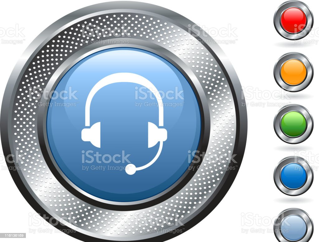 headset royalty free vector art on metallic button royalty-free headset royalty free vector art on metallic button stock vector art & more images of blank