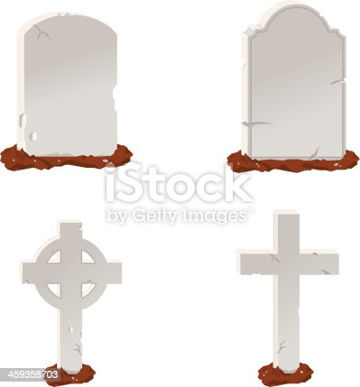 A vector illustration of various stone tombstones.