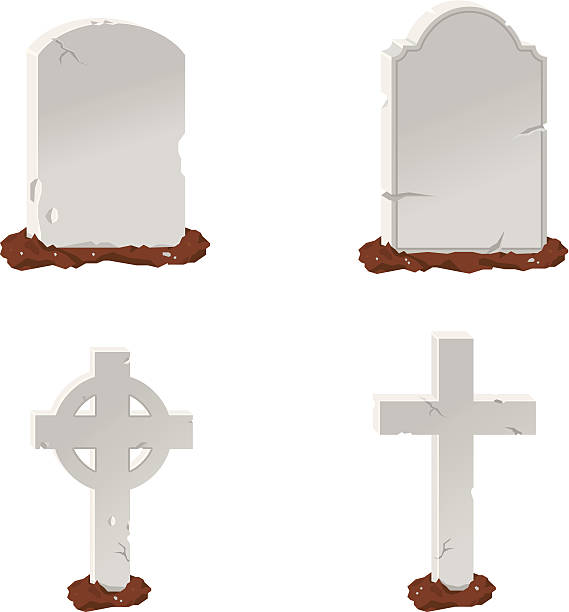 headstone icon - mimari illüstrasyonlar stock illustrations
