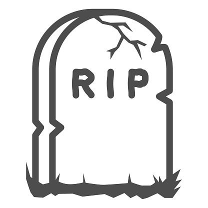 Headstone line icon, Halloween concept, Grave stone sign on white background, Gravestone with RIP text icon in outline style for mobile concept and web design. Vector graphics.