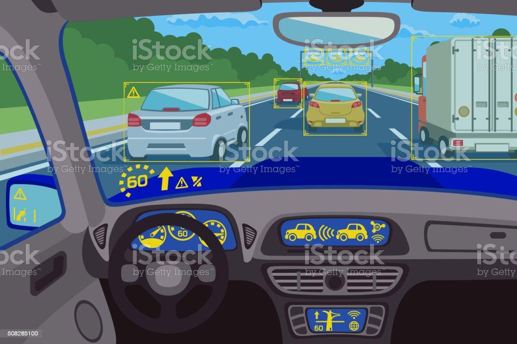 Head-up system technology in car. Vector illustration vector art illustration