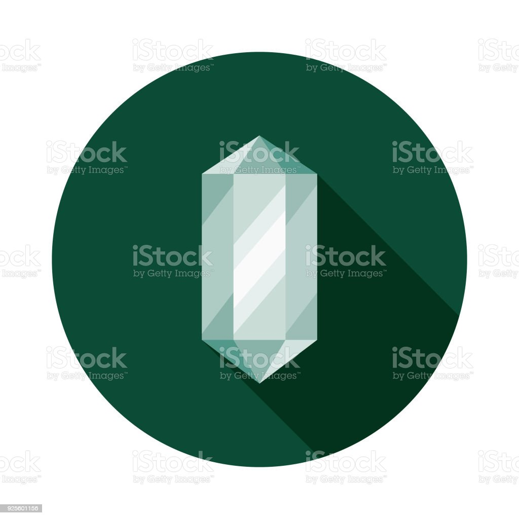 Healing Crystal Flat Design Naturopathy Icon with Side Shadow vector art illustration