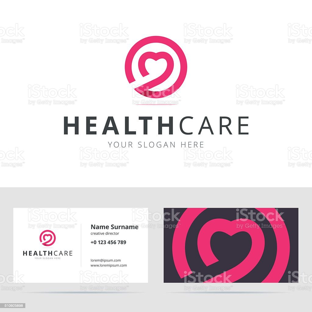 Healt care sign and business card template. vector art illustration
