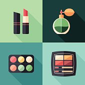 Health and beauty flat square icons with long shadows.