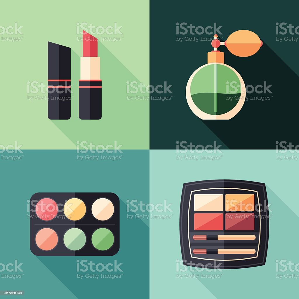 Health and beauty flat square icons with long shadows. vector art illustration