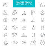 Cosmetics and Beauty icon set. Editable Stroke