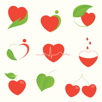 Health and eco heart icons