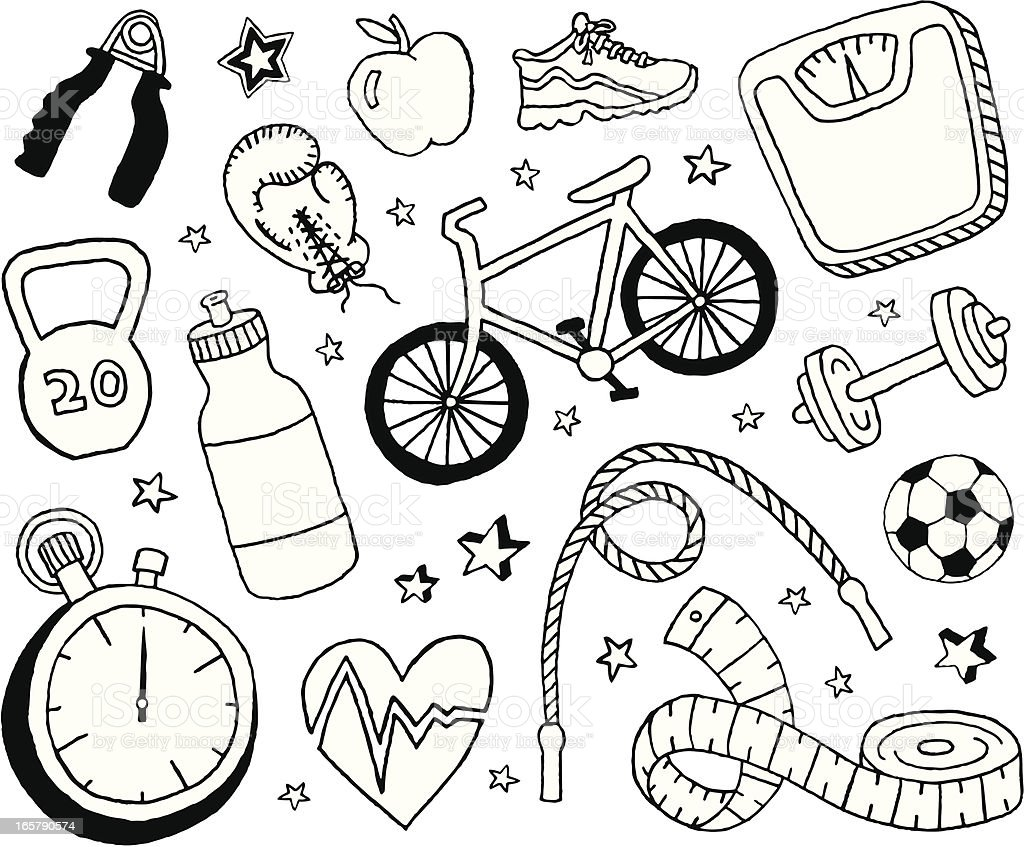 Health and Fitness Doodles vector art illustration