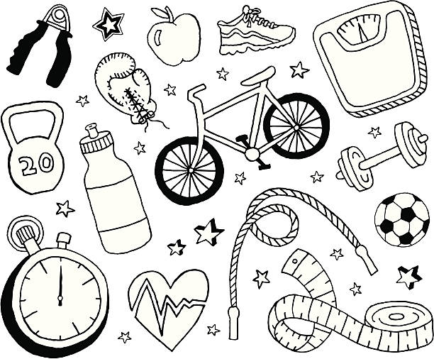 health and fitness doodles - sports medicine stock illustrations, clip art, cartoons, & icons