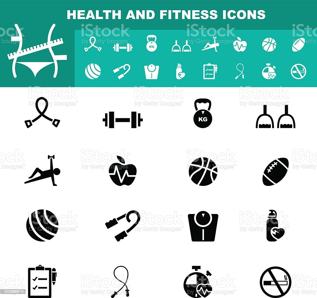 health and fitness icon vector vector art illustration