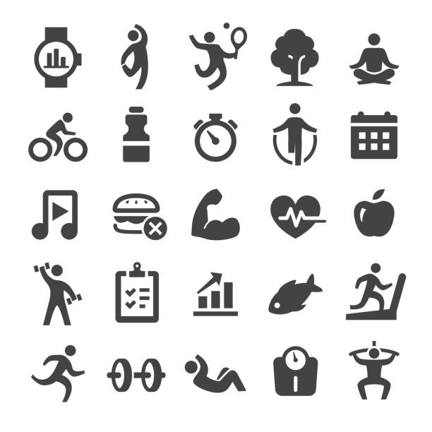 Health and Fitness Icons Set - Smart Series vector art illustration