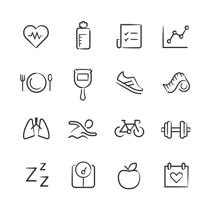 Health and Fitness Icons—Sketchy Series