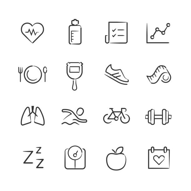 Health and Fitness Icons—Sketchy Series vector art illustration