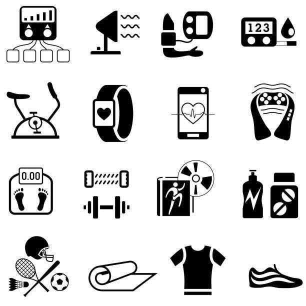illustrazioni stock, clip art, cartoni animati e icone di tendenza di health and fitness products icons - elettrodo