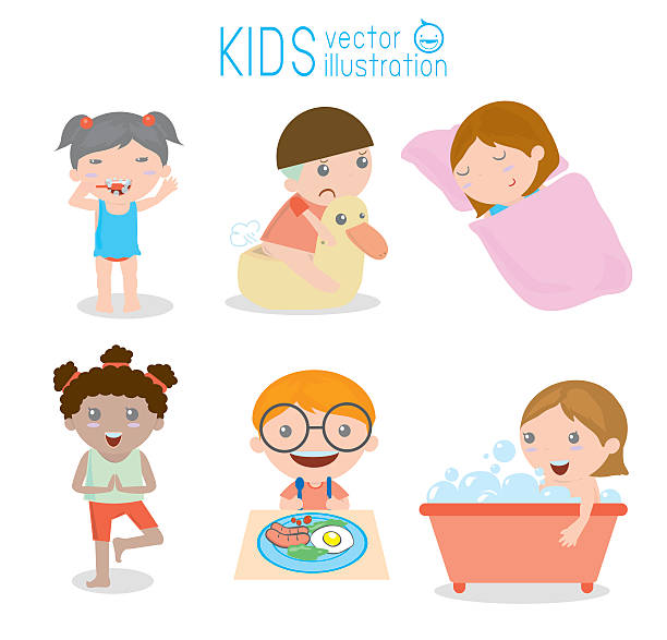 Royalty Free Morning Routine Clip Art Vector Images