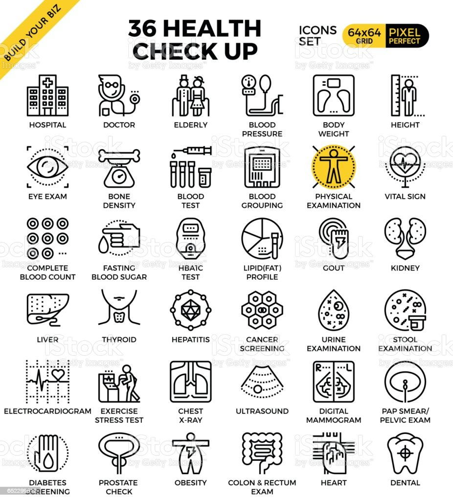 Health and Medical Check up icons vector art illustration